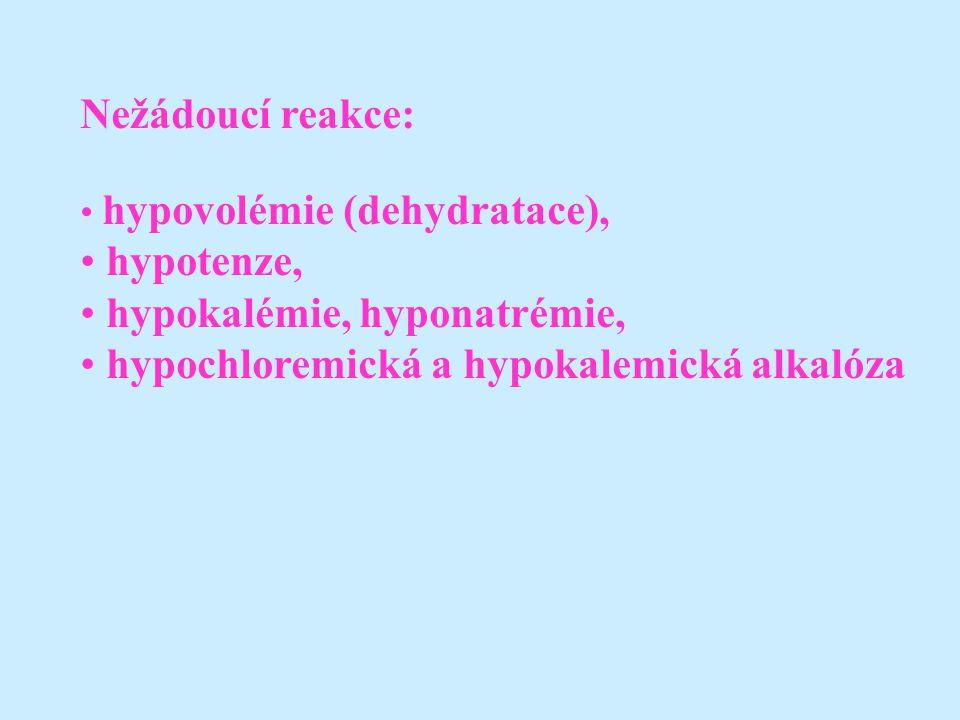 Nežádoucí reakce: hypovolémie (dehydratace), hypotenze, hypokalémie, hyponatrémie, hypochloremická a hypokalemická alkalóza