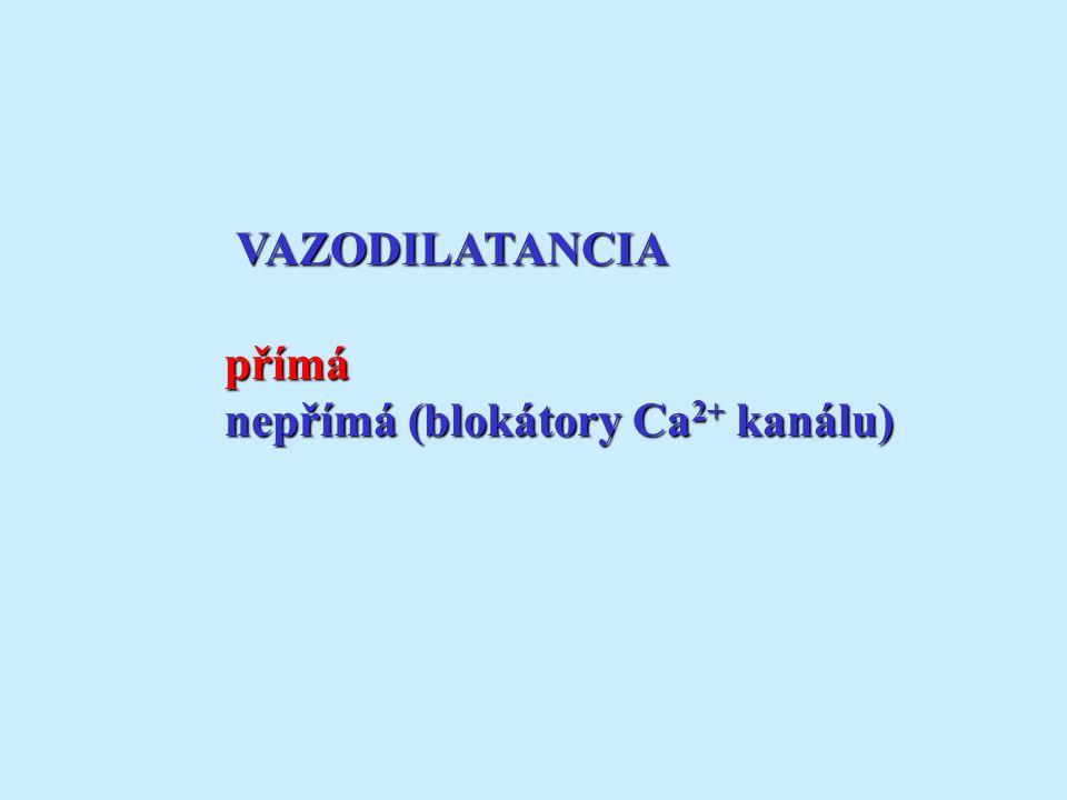 VAZODILATANCIA VAZODILATANCIApřímá nepřímá (blokátory Ca 2+ kanálu)