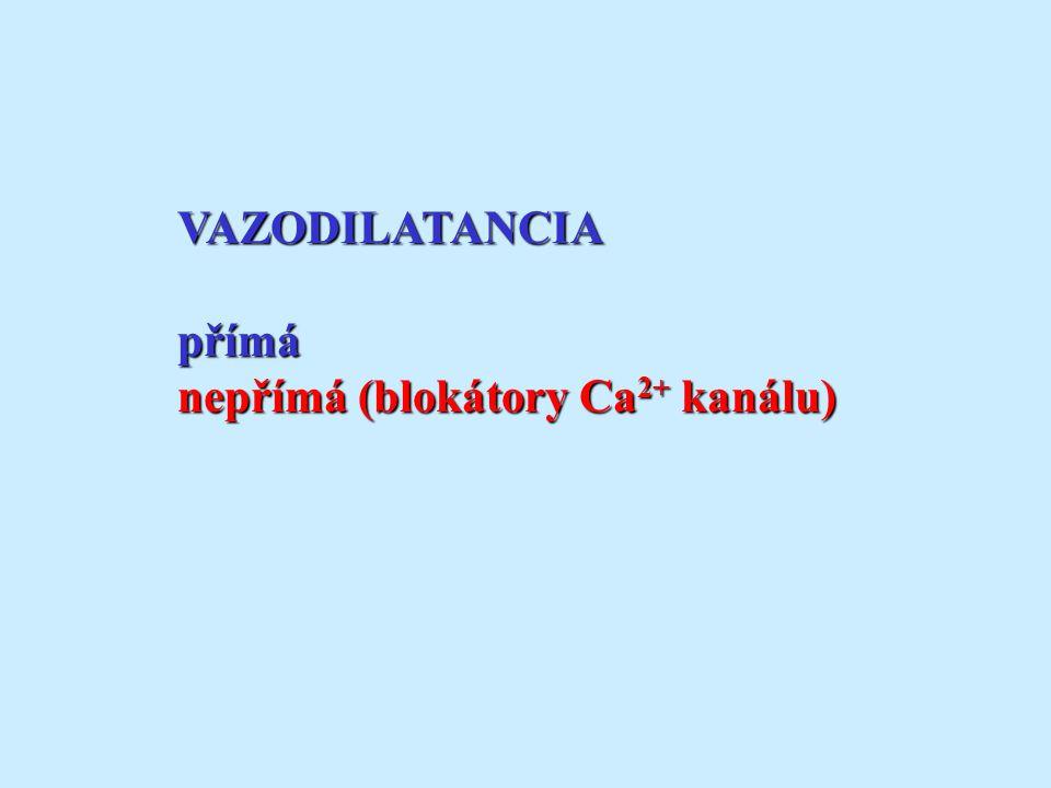 VAZODILATANCIApřímá nepřímá (blokátory Ca 2+ kanálu)