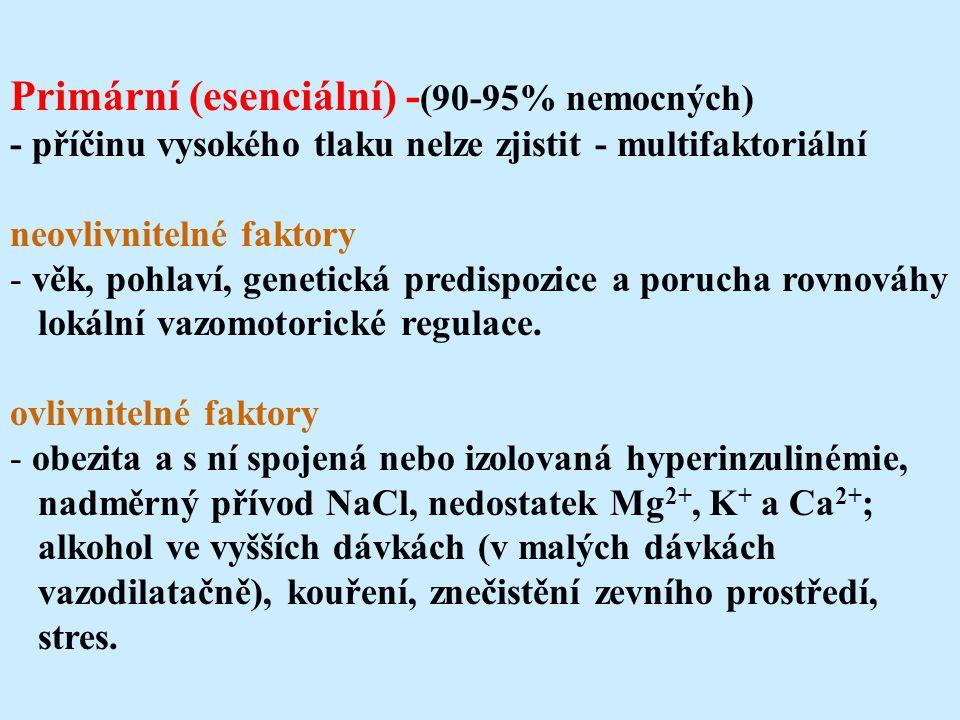 Primární (esenciální) - (90-95% nemocných) - příčinu vysokého tlaku nelze zjistit - multifaktoriální neovlivnitelné faktory - věk, pohlaví, genetická predispozice a porucha rovnováhy lokální vazomotorické regulace.