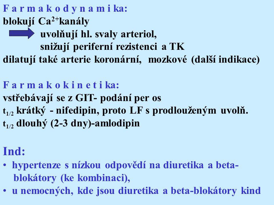F a r m a k o d y n a m i ka: blokují Ca 2+ kanály uvolňují hl.