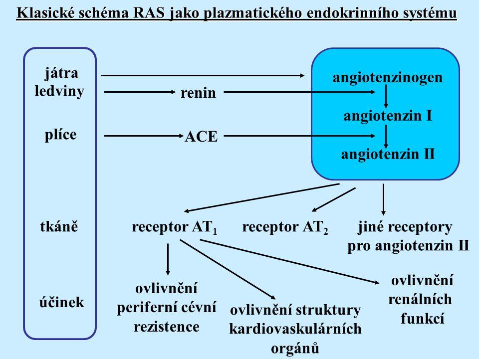 Klasické schéma RAS jako plazmatického endokrinního systému angiotenzinogen angiotenzin I angiotenzin II renin ACE játra ledviny plíce receptor AT 1 receptor AT 2 jiné receptory pro angiotenzin II ovlivnění periferní cévní rezistence ovlivnění struktury kardiovaskulárních orgánů ovlivnění renálních funkcí tkáně účinek