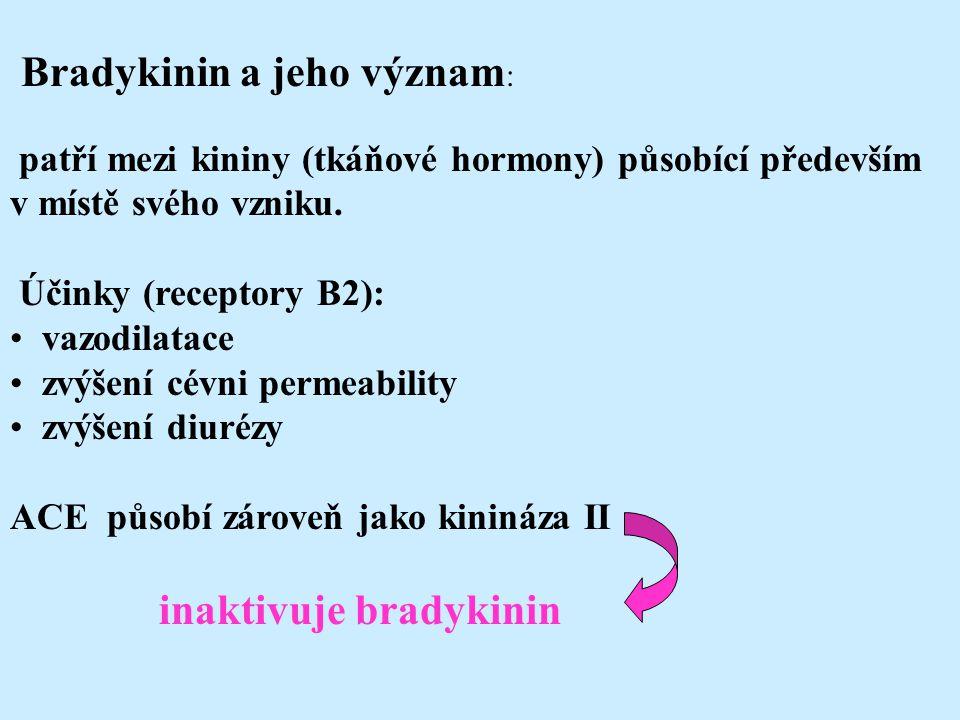 Bradykinin a jeho význam : patří mezi kininy (tkáňové hormony) působící především v místě svého vzniku. Účinky (receptory B2): vazodilatace zvýšení cé
