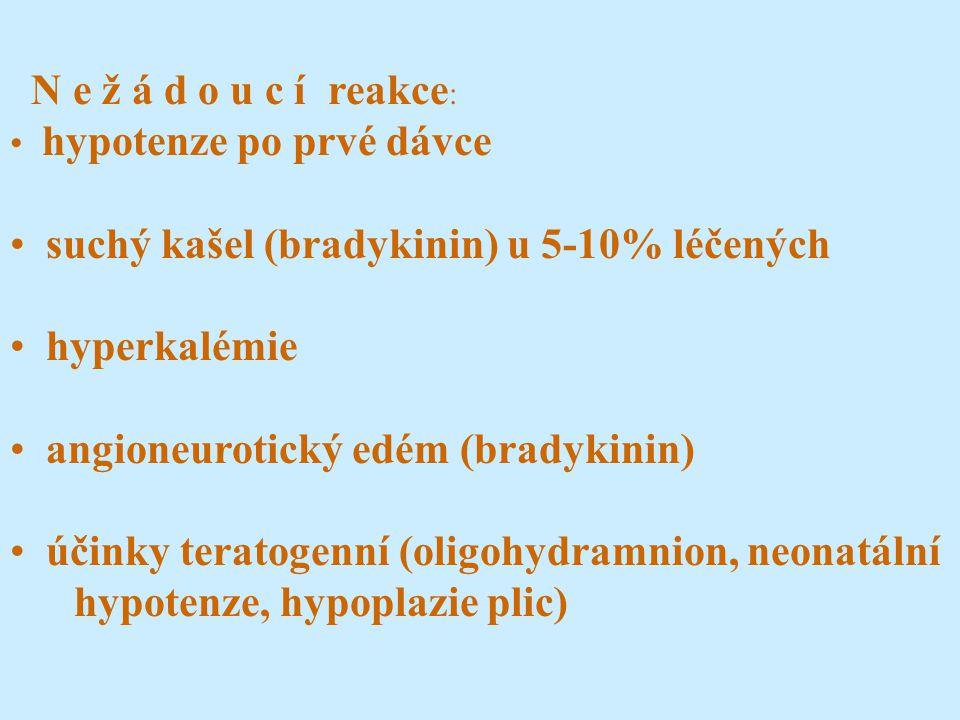 N e ž á d o u c í reakce : hypotenze po prvé dávce suchý kašel (bradykinin) u 5-10% léčených hyperkalémie angioneurotický edém (bradykinin) účinky teratogenní (oligohydramnion, neonatální hypotenze, hypoplazie plic)