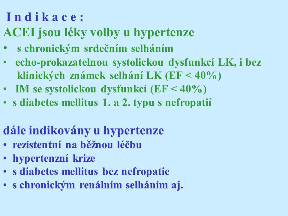 I n d i k a c e : ACEI jsou léky volby u hypertenze s chronickým srdečním selháním echo-prokazatelnou systolickou dysfunkcí LK, i bez klinických známek selhání LK (EF < 40%) IM se systolickou dysfunkcí (EF < 40%) s diabetes mellitus 1.