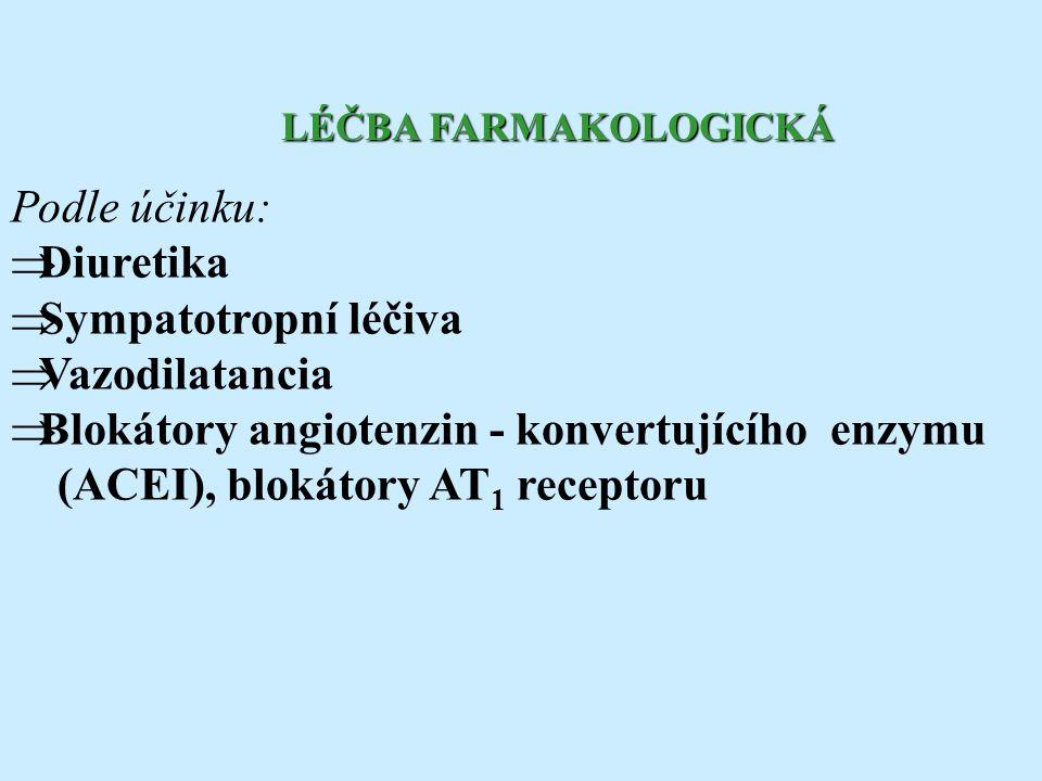 Podle účinku:  Diuretika  Sympatotropní léčiva  Vazodilatancia  Blokátory angiotenzin - konvertujícího enzymu (ACEI), blokátory AT 1 receptoru LÉČ