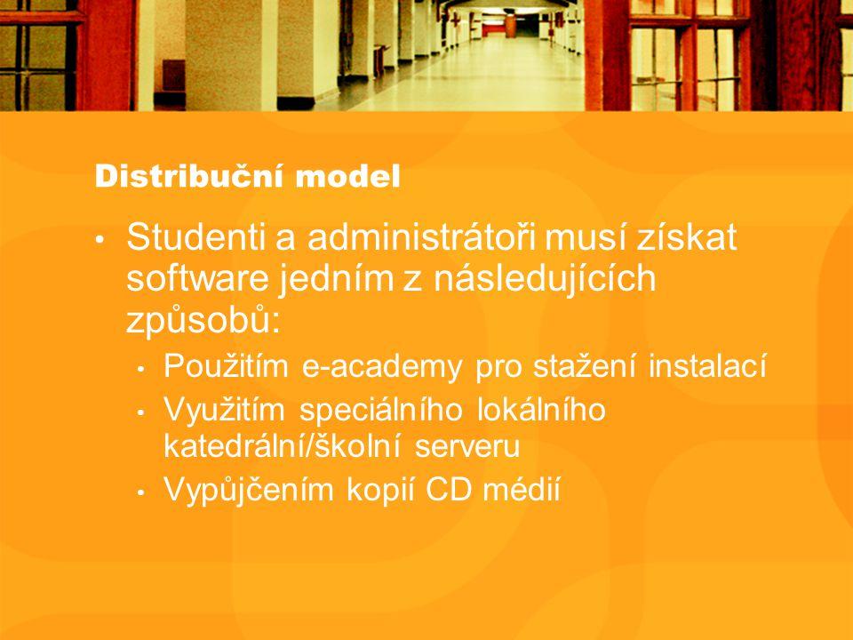 Distribuční model Studenti a administrátoři musí získat software jedním z následujících způsobů: Použitím e-academy pro stažení instalací Využitím speciálního lokálního katedrální/školní serveru Vypůjčením kopií CD médií