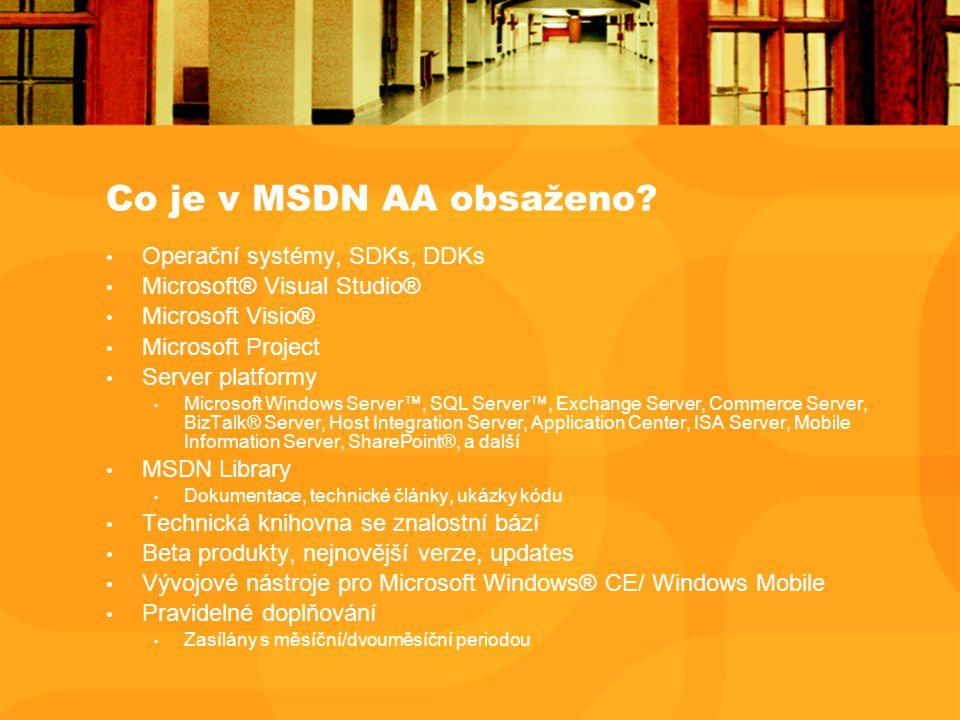 Co je v MSDN AA obsaženo.