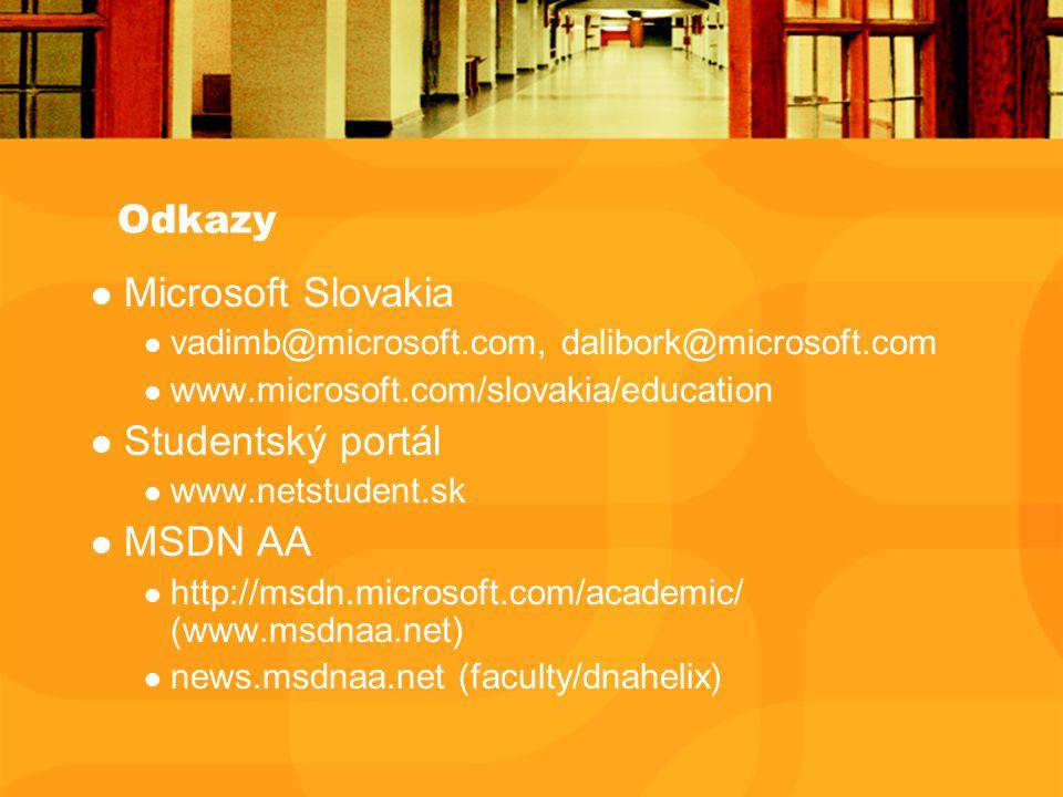 Odkazy Microsoft Slovakia vadimb@microsoft.com, dalibork@microsoft.com www.microsoft.com/slovakia/education Studentský portál www.netstudent.sk MSDN AA http://msdn.microsoft.com/academic/ (www.msdnaa.net) news.msdnaa.net (faculty/dnahelix)