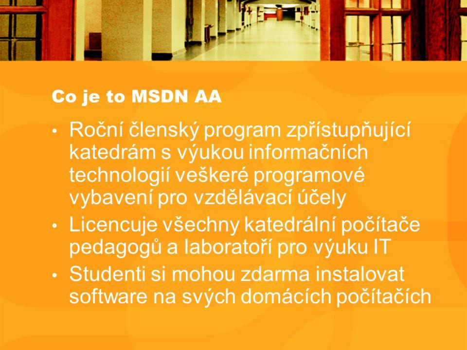 Co je to MSDN AA Roční členský program zpřístupňující katedrám s výukou informačních technologií veškeré programové vybavení pro vzdělávací účely Licencuje všechny katedrální počítače pedagogů a laboratoří pro výuku IT Studenti si mohou zdarma instalovat software na svých domácích počítačích