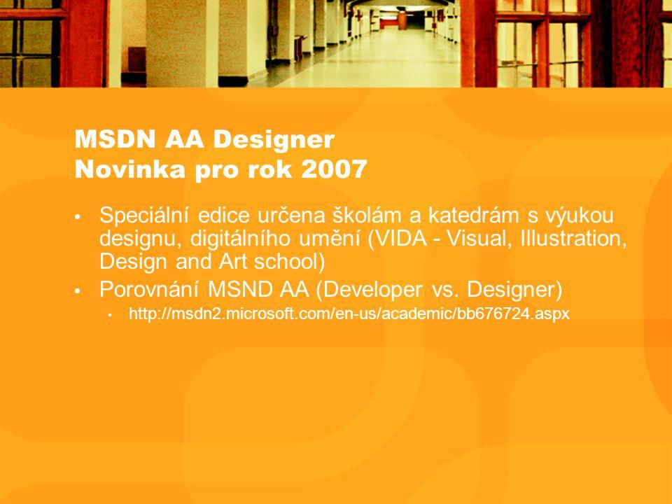 MSDN AA Designer Novinka pro rok 2007 Speciální edice určena školám a katedrám s výukou designu, digitálního umění (VIDA - Visual, Illustration, Design and Art school) Porovnání MSND AA (Developer vs.