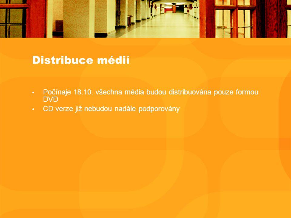 Distribuce médií Počínaje 18.10. všechna média budou distribuována pouze formou DVD CD verze již nebudou nadále podporovány