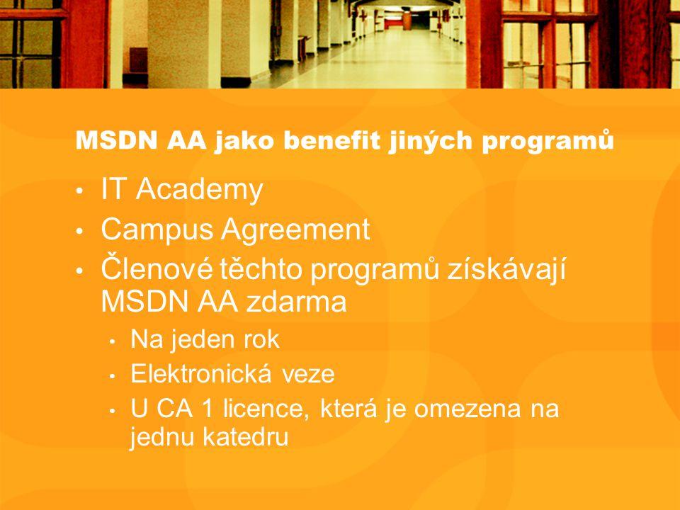 MSDN AA jako benefit jiných programů IT Academy Campus Agreement Členové těchto programů získávají MSDN AA zdarma Na jeden rok Elektronická veze U CA 1 licence, která je omezena na jednu katedru