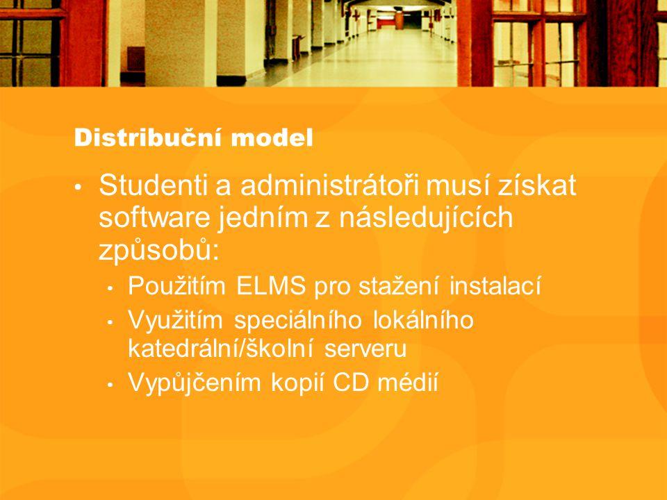 Distribuční model Studenti a administrátoři musí získat software jedním z následujících způsobů: Použitím ELMS pro stažení instalací Využitím speciálního lokálního katedrální/školní serveru Vypůjčením kopií CD médií