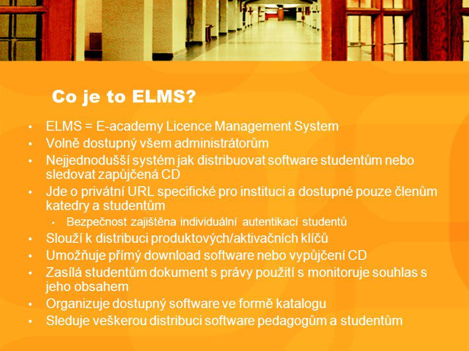 Co je to ELMS? ELMS = E-academy Licence Management System Volně dostupný všem administrátorům Nejjednodušší systém jak distribuovat software studentům