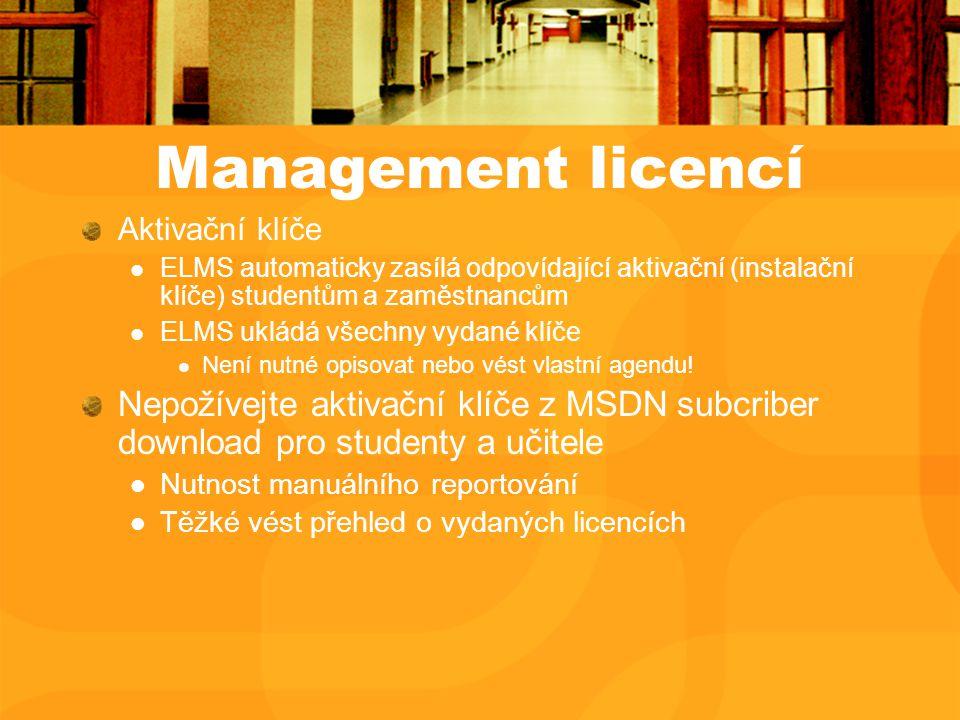 Management licencí Aktivační klíče ELMS automaticky zasílá odpovídající aktivační (instalační klíče) studentům a zaměstnancům ELMS ukládá všechny vydané klíče Není nutné opisovat nebo vést vlastní agendu.