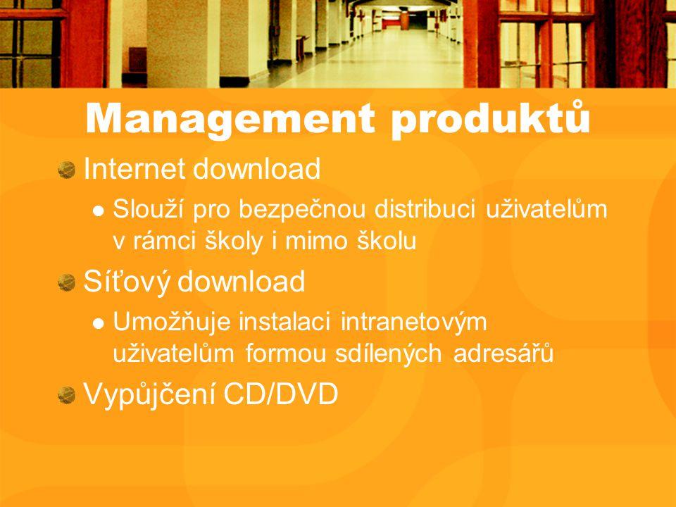 Management produktů Internet download Slouží pro bezpečnou distribuci uživatelům v rámci školy i mimo školu Síťový download Umožňuje instalaci intranetovým uživatelům formou sdílených adresářů Vypůjčení CD/DVD