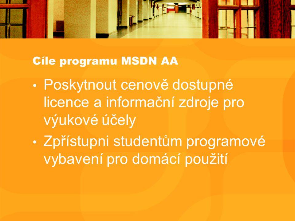 Cíle programu MSDN AA Poskytnout cenově dostupné licence a informační zdroje pro výukové účely Zpřístupni studentům programové vybavení pro domácí pou