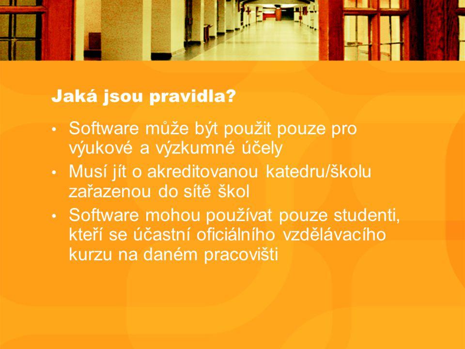 Jaká jsou pravidla? Software může být použit pouze pro výukové a výzkumné účely Musí jít o akreditovanou katedru/školu zařazenou do sítě škol Software