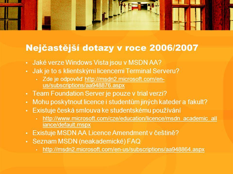 Nejčastější dotazy v roce 2006/2007 Jaké verze Windows Vista jsou v MSDN AA? Jak je to s klientskými licencemi Terminal Serveru? Zde je odpověď http:/