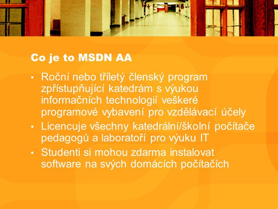 Co je to MSDN AA Roční nebo tříletý členský program zpřístupňující katedrám s výukou informačních technologií veškeré programové vybavení pro vzdělávací účely Licencuje všechny katedrální/školní počítače pedagogů a laboratoří pro výuku IT Studenti si mohou zdarma instalovat software na svých domácích počítačích