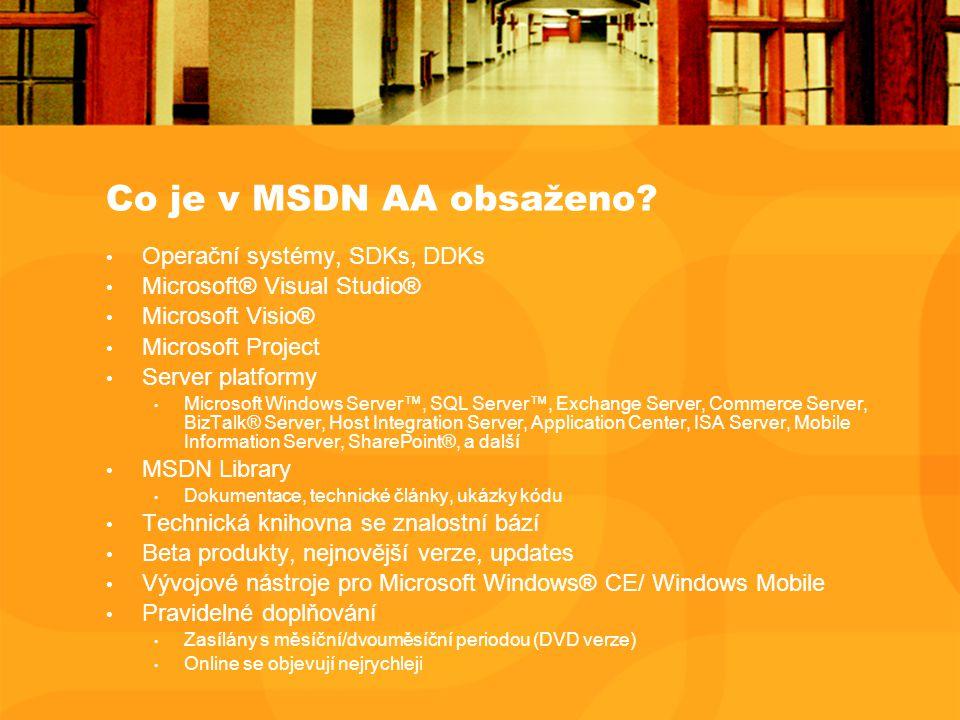Co je v MSDN AA obsaženo? Operační systémy, SDKs, DDKs Microsoft® Visual Studio® Microsoft Visio® Microsoft Project Server platformy Microsoft Windows