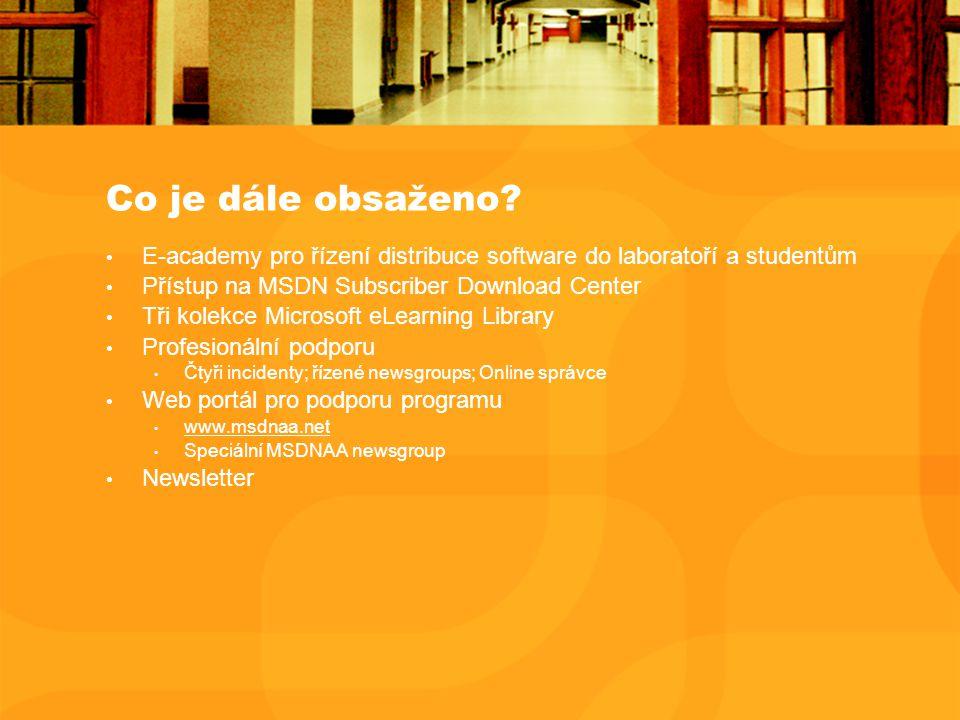 Co je dále obsaženo? E-academy pro řízení distribuce software do laboratoří a studentům Přístup na MSDN Subscriber Download Center Tři kolekce Microso