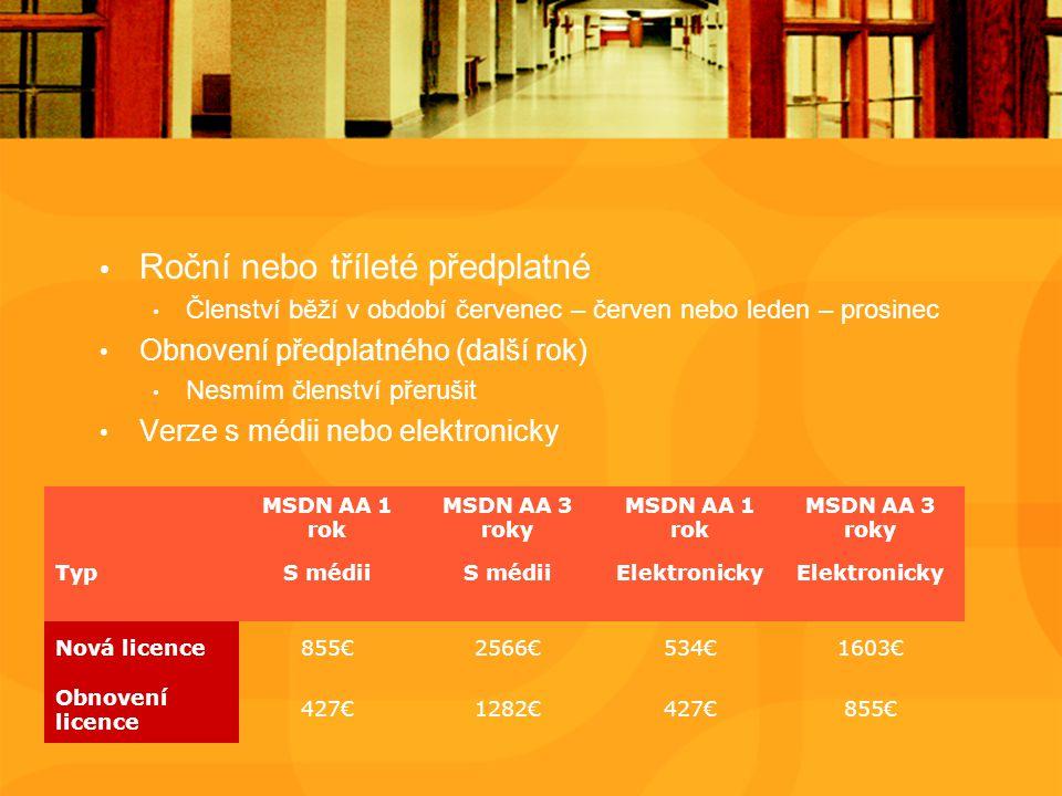 Roční nebo tříleté předplatné Členství běží v období červenec – červen nebo leden – prosinec Obnovení předplatného (další rok) Nesmím členství přerušit Verze s médii nebo elektronicky MSDN AA 1 rok MSDN AA 3 roky MSDN AA 1 rok MSDN AA 3 roky TypS médii Elektronicky Nová licence855€2566€534€1603€ Obnovení licence 427€1282€427€855€