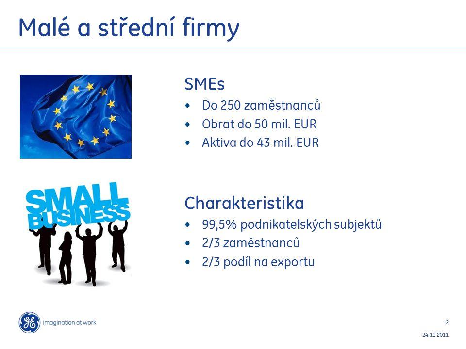 2 24.11.2011 Malé a střední firmy SMEs Do 250 zaměstnanců Obrat do 50 mil.