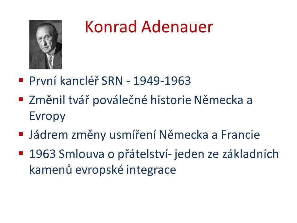 Konrad Adenauer  První kancléř SRN - 1949-1963  Změnil tvář poválečné historie Německa a Evropy  Jádrem změny usmíření Německa a Francie  1963 Sml