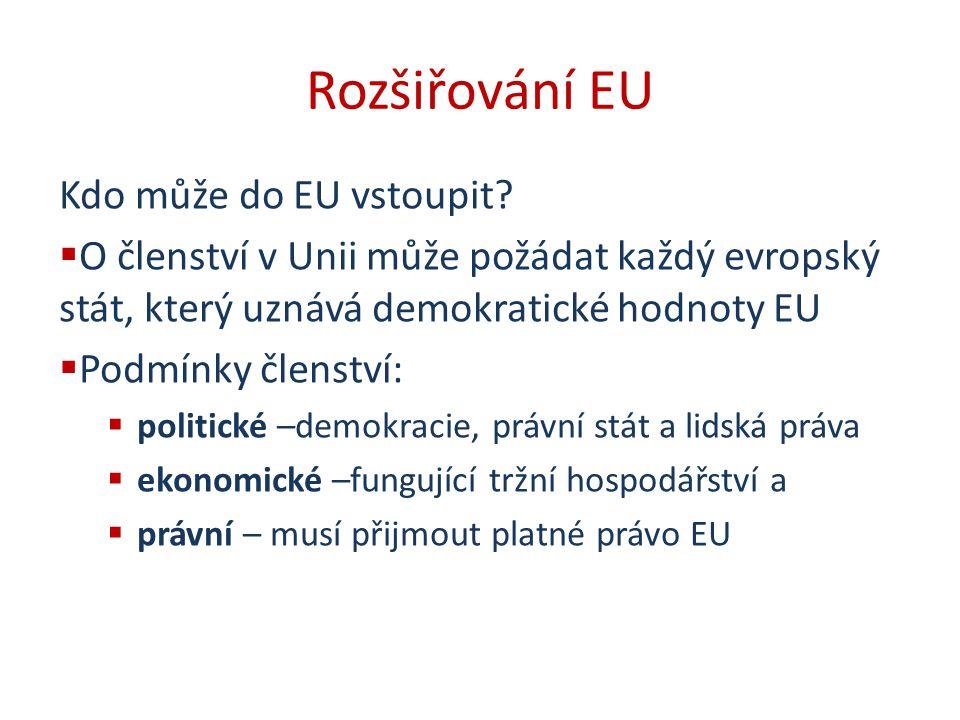 Rozšiřování EU Kdo může do EU vstoupit?  O členství v Unii může požádat každý evropský stát, který uznává demokratické hodnoty EU  Podmínky členství