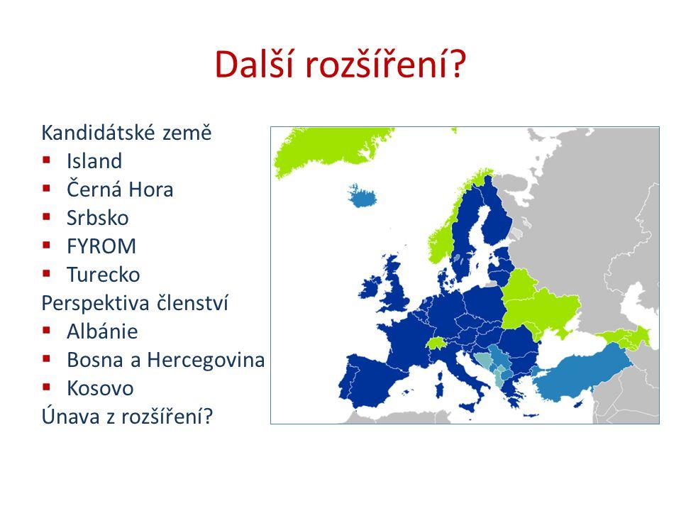 Další rozšíření? Kandidátské země  Island  Černá Hora  Srbsko  FYROM  Turecko Perspektiva členství  Albánie  Bosna a Hercegovina  Kosovo Únava
