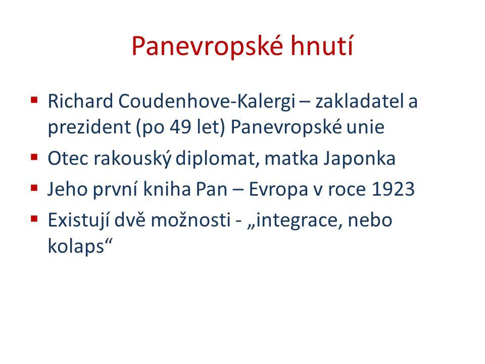 Panevropské hnutí  Richard Coudenhove-Kalergi – zakladatel a prezident (po 49 let) Panevropské unie  Otec rakouský diplomat, matka Japonka  Jeho pr