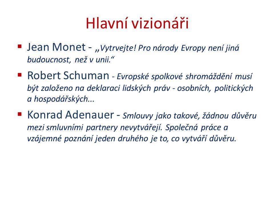 """Hlavní vizionáři  Jean Monet - """" Vytrvejte! Pro národy Evropy není jiná budoucnost, než v unii.""""  Robert Schuman - Evropské spolkové shromáždění mus"""