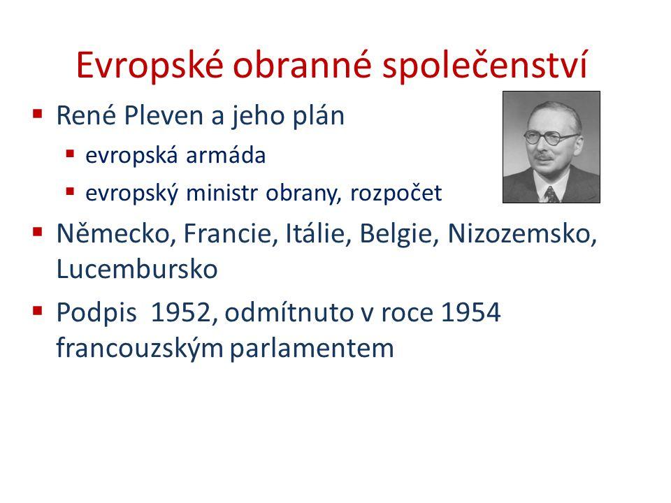 Evropské obranné společenství  René Pleven a jeho plán  evropská armáda  evropský ministr obrany, rozpočet  Německo, Francie, Itálie, Belgie, Nizo