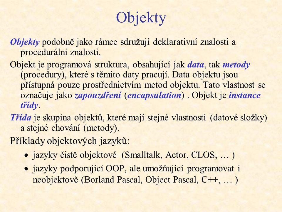 Objekty Objekty podobně jako rámce sdružují deklarativní znalosti a procedurální znalosti. Objekt je programová struktura, obsahující jak data, tak me