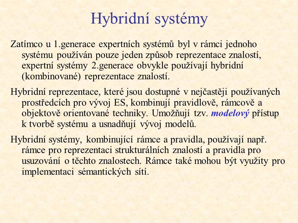 Hybridní systémy Zatímco u 1.generace expertních systémů byl v rámci jednoho systému používán pouze jeden způsob reprezentace znalostí, expertní systémy 2.generace obvykle používají hybridní (kombinované) reprezentace znalostí.