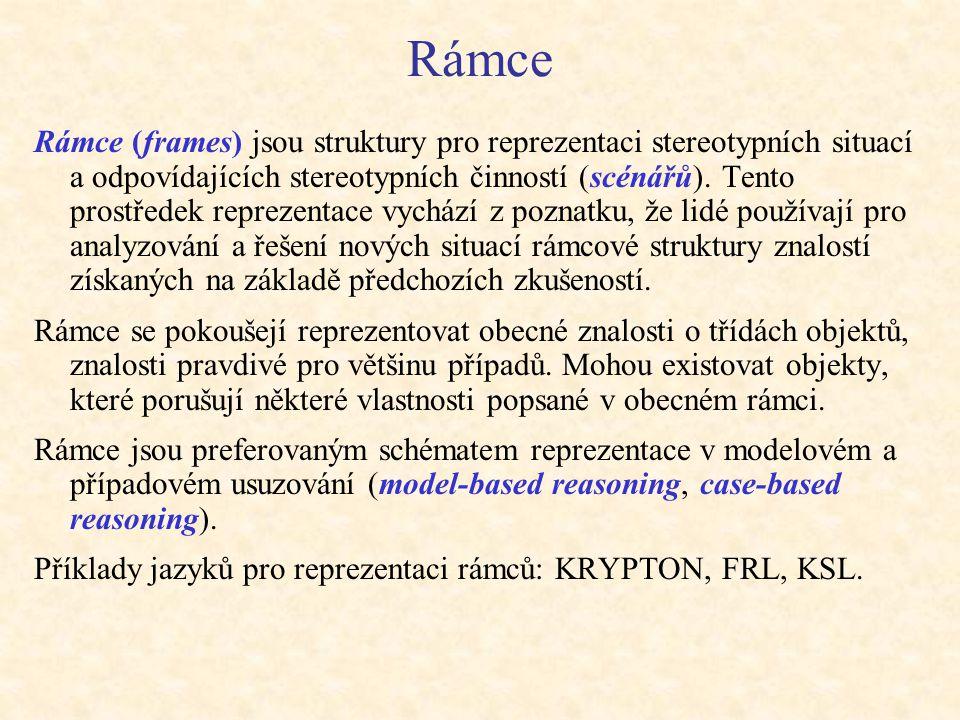Rámce Rámce (frames) jsou struktury pro reprezentaci stereotypních situací a odpovídajících stereotypních činností (scénářů). Tento prostředek repreze