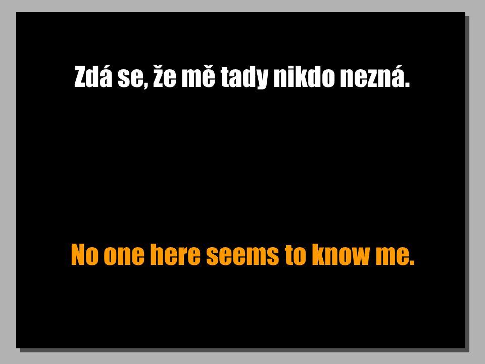 Zdá se, že mě tady nikdo nezná. No one here seems to know me.