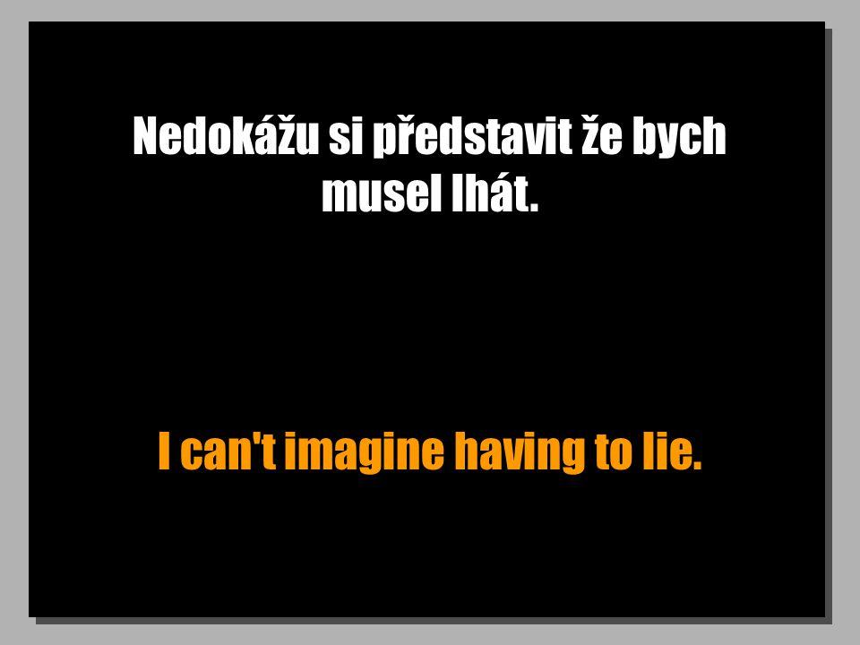 Nedokážu si představit že bych musel lhát. I can't imagine having to lie.
