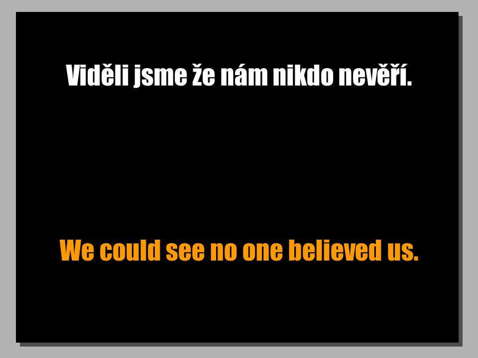 Viděli jsme že nám nikdo nevěří. We could see no one believed us.