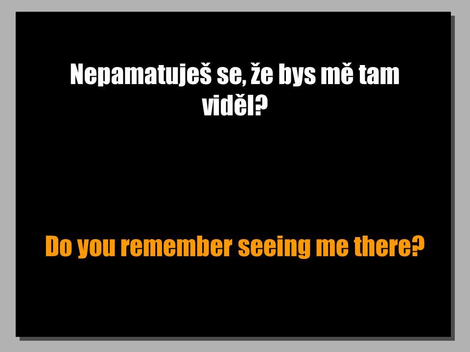 Nepamatuješ se, že bys mě tam viděl? Do you remember seeing me there?