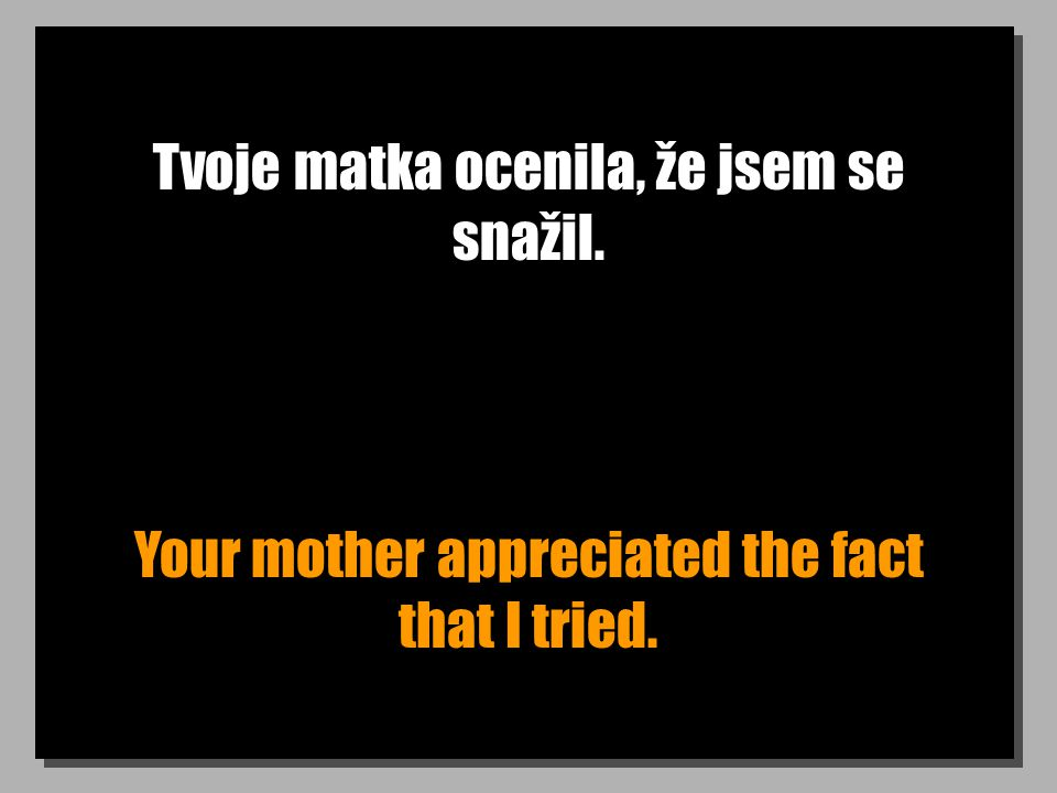 Tvoje matka ocenila, že jsem se snažil. Your mother appreciated the fact that I tried.