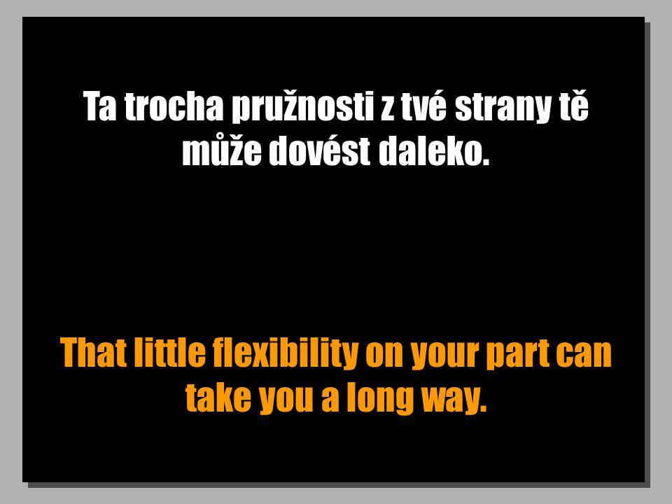 Ta trocha pružnosti z tvé strany tě může dovést daleko. That little flexibility on your part can take you a long way.