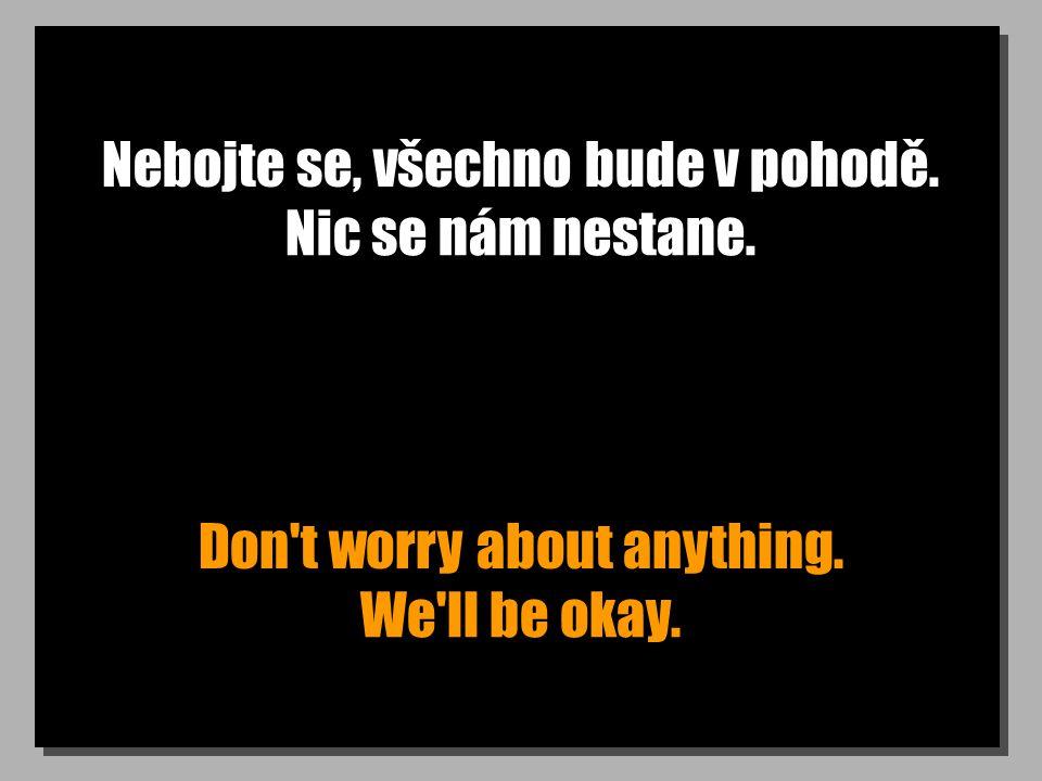 Nebojte se, všechno bude v pohodě. Don't worry about anything. Nic se nám nestane. We'll be okay.