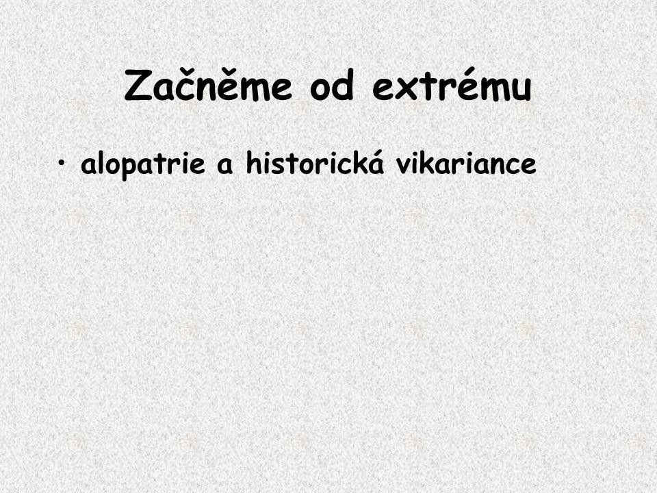 Začněme od extrému alopatrie a historická vikariance