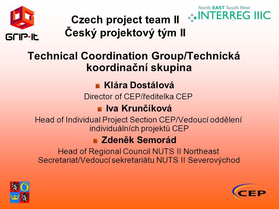 Czech project team II Český projektový tým II Technical Coordination Group/Technická koordinační skupina Klára Dostálová Director of CEP/ředitelka CEP