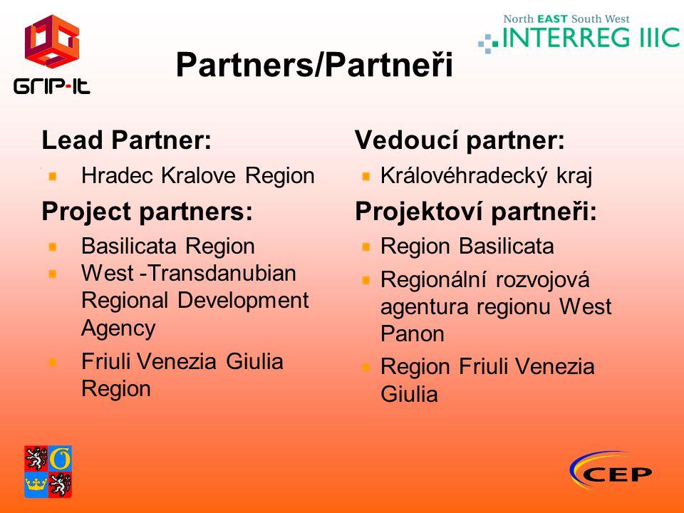 Partners/Partneři Lead Partner: Hradec Kralove Region Project partners: Basilicata Region West -Transdanubian Regional Development Agency Friuli Venez