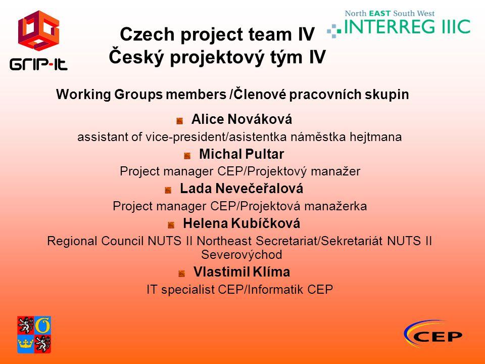 Czech project team IV Český projektový tým IV Working Groups members /Členové pracovních skupin Alice Nováková assistant of vice-president/asistentka