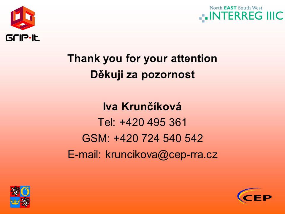 Thank you for your attention Děkuji za pozornost Iva Krunčíková Tel: +420 495 361 GSM: +420 724 540 542 E-mail: kruncikova@cep-rra.cz